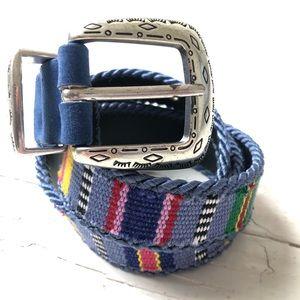 VTG Colorful Textile & Silver Western Style Belt
